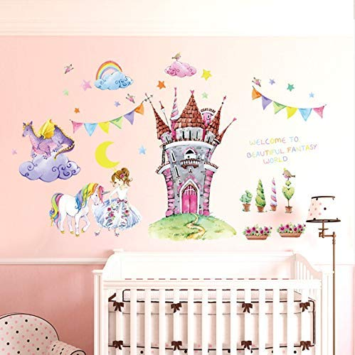 Hand Painted Kids Murals - RONGAN Wall Stickers Wallstickers Cartoon Dream Castle Fairy World Castle Princess S Hand Painted Unicorn Children's Room Translucent Decorative Mural Finished Size 90X105Cm