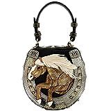 Mary Frances, Mane Stay Embellished Horse Top Handle Bag, Black/Gold