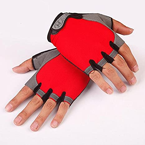 LALA LIFE Shockproof Anti-Slip Outdoor Professional Road Bike Bicycle Half Finger Cycling Gloves for Men Sport Gloves(Grey)