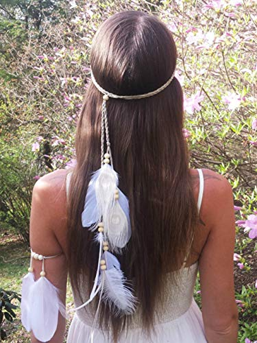 (Barogirl 1920s Fascinator Feathers Headband White Indian H eadpiece Feather Armlet Bracelet for Women and Girls (Headband+Armlet))