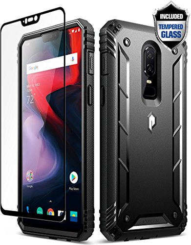 OnePlus 6 Rugged Case, Poetic Revolution [360 Degree Protection] Full-Body Rugged Heavy Duty Case [with Tempered Glass] for OnePlus 6 Black