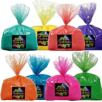 Image of Color Powder Rainbow Run 8 Pack - Ideal for Fun Run Events, Holi Festivals, and Color Wars - 5 pounds Each Pink, Red, Orange, Yellow, Green, Teal, Blue and Purple! Decorations