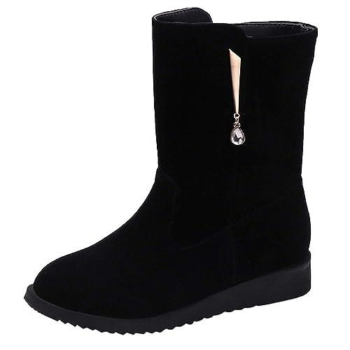 Logobeing Zapatos Mujer Tacones Botines Mujer Tacon Botas de Mujer Casual Plataforma Martain Boot de Cuero Color Sólido Zapatos Sin Cordones con Punta ...