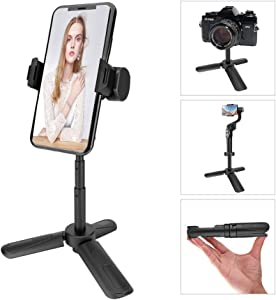Phone Tripod, MOUNTDOG Portable Webcam Stand Mini Tripod Phone Holder, Extendable Tabletop Tripod Desktop Tripod Legs Compatible with iPhone/Camera/Samsung/Smartphone/Webcam, 360° Rotation, Black