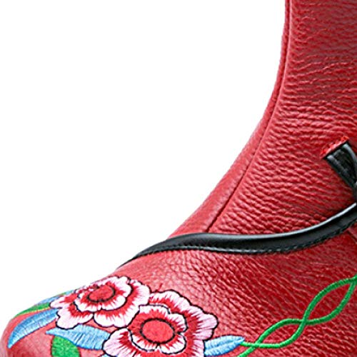 Scarpe Scarpe Scarpe Comode Pelle Donna da da da Antiscivolo Red Testa ZQZQ Rotonda Casual WHqnwRUWa