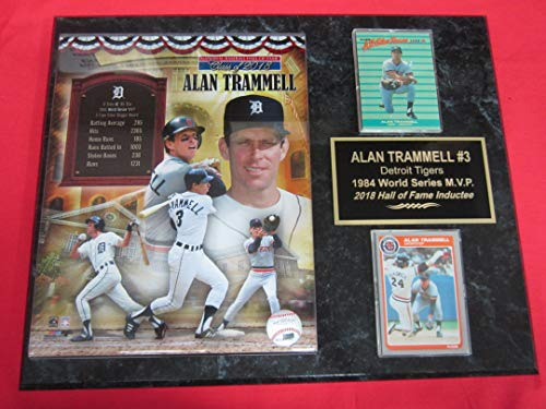 Tigers Alan TRAMMELL 2 Card Collector Plaque w/8x10 2018 Hall of Fame Photo