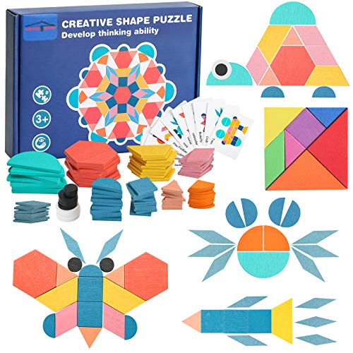 180 COLORFUL WOODEN PUZZLE PIECES