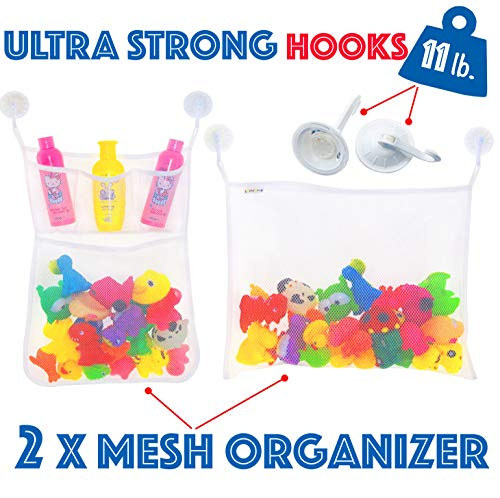 2 x Mesh Bath Toy Organizer Set + 6 Ultra Strong Suction Hooks - Bathtub Toy Storage Organizer + Large Storage Net Bag with Pockets for Shower Accessories - Cosmetics - for Kids and Adults