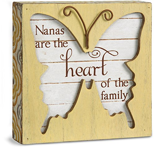 Nana Heart (Pavilion Gift Company Simple Spirits 41090 Nanas are The Heart of The Family Butterfly Plaque,)