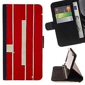 BullDog Case - FOR/Apple Iphone 4 / 4S / - / RED CALLIGRAPHY LINES RETRO RUSTIC WORN /- Monedero de cuero de la PU Llevar cubierta de la caja con el ID Credit Card Slots Flip funda de cuer