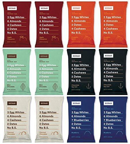 RxBar Real Food Protein Bars Coffee Free Variety Pack, 6 Flavors (Pack of 12) by RXBAR