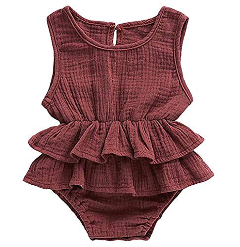 Hopeful Newborn Infant Baby Girls Romper Shirt Clothes Cotton Sleeveless Ruffle One-Piece Bodysuit Outfit 0-24M (Brick Red, 80(6-12 Months))