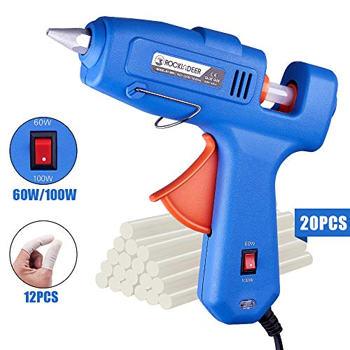 Hot Glue Gun with Carrying Box, 60/100W Full Size Dual Power High Temp Heavy Duty Melt Glue Gun Kit with 20 Pcs Glue Sticks for DIY Crafts Arts Home Quick Repairs Festival Decoration by Rockindeer