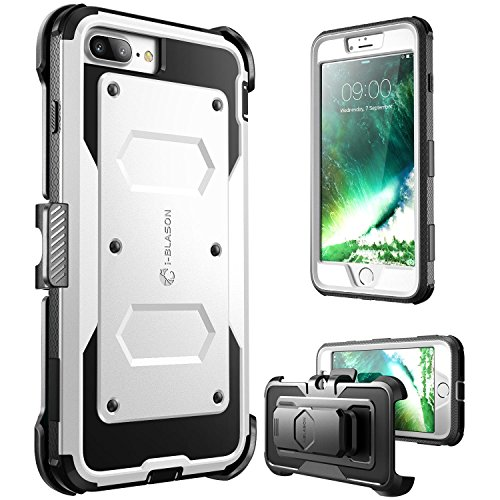 - i-Blason Case for iPhone 7 Plus / iPhone 8 Plus, [Armorbox] [Built in Screen Protector] Full Body Heavy Duty Protection Kickstand Shock Reduction Case, White