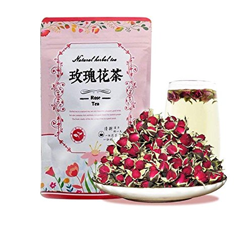Dian Mai Rose tea Rose Bud Herbal Tea - Rich in antioxidants, Beautiful and Aromatic - Loose Leaf 100g/bag 滇迈 金边玫瑰 云南丽江新鲜无硫干金边玫瑰特级花蕾 100克
