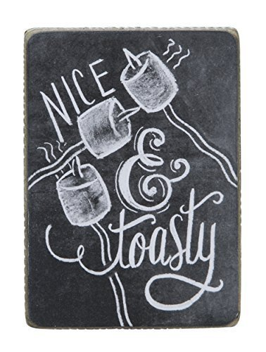 Primitives by Kathy Chalk Sign, 4.5-Inch by 3.25-Inch, Nice & Toasty by Primitives by Kathy
