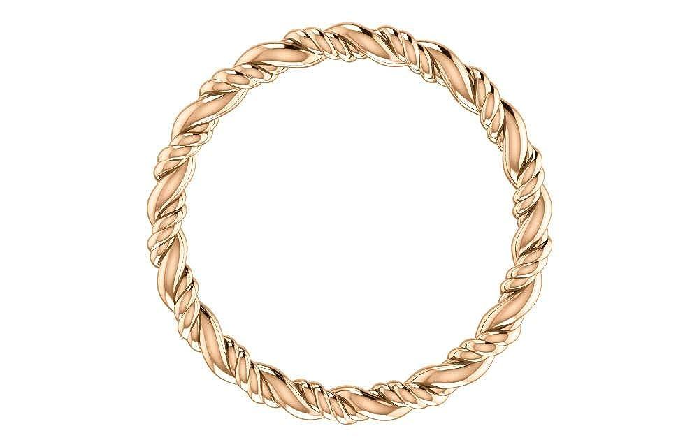 FB Jewels 14K Rose Gold Rope Eternity Wedding Ring Band Size 6