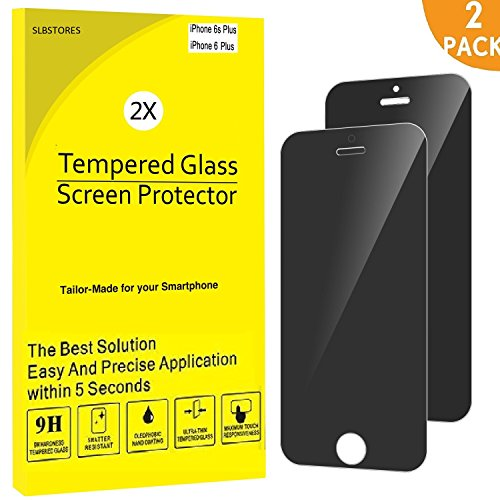 SLBSTORES 2-Pack Privacy Screen Protector for Apple iPhone 6 Plus and iPhone 6s Plus Anti-Spy Tempered Glass Film