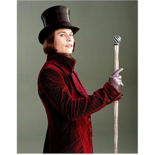 Johnny Depp as Willy Wonka Holding Cane Up Pose 8 x 10 Inch Photo ()