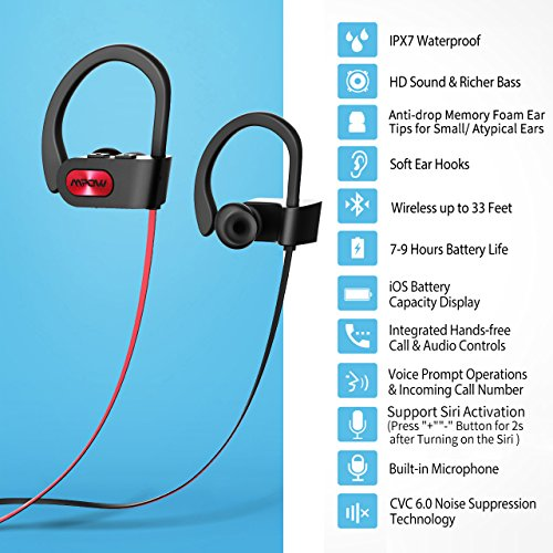 Mpow Flame Bluetooth Headphones Sport IPX7 Waterproof Wireless Sport Earbuds, Richer Bass HiFi Stereo In-Ear Earphones, 7-9 Hrs Playback, Running Headphones W/CVC6.0 Noise Cancelling Mic, Red 2
