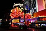 """Photograph an 18""""x12"""" photographic print of The Flamingo hotel and casino neon signs at night in Las Vegas Nevada USA landscape photo color picture fine art print. photography by Andy Evans Photos"""