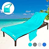 YOULERBU Beach Chair Cover with Pillow Breathable Sponge Thickened Pool Lounge Chair Towel Beach Towel with Side Pockets Teal
