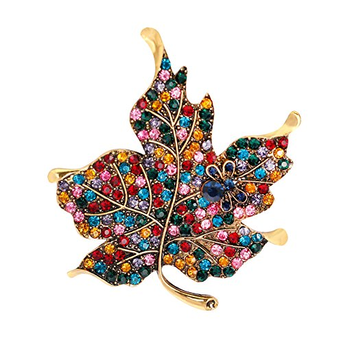 dds5391 Colorful Rhinestone Maple Leaf Cute Bee Brooch Pin Gift for Ladies Dress Scarf - Multicolor - Maple Leaf Pin Brooch