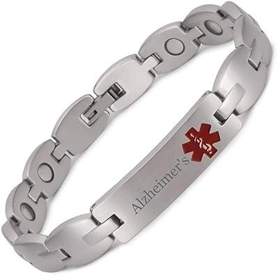 Stainless Steel Alzheimer Medical Alert ID Bracelet