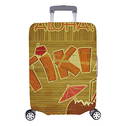 - Tiki Bar Decor Simple Luggage Cover,Wooden Planks Wall with Styled Tiki Bar Text Cocktail Hibiscus Aloha for Home,S