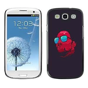 FECELL CITY // Duro Aluminio Pegatina PC Caso decorativo Funda Carcasa de Protección para Samsung Galaxy S3 I9300 // Red Glasses Cool Satan Dark