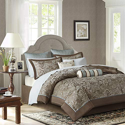 Madison Park Aubrey Queen Size Bed Comforter Set Bed In A Bag - Blue, Brown , Paisley Jacquard - 12 Pieces Bedding Sets - Ultra Soft Microfiber Bedroom Comforters