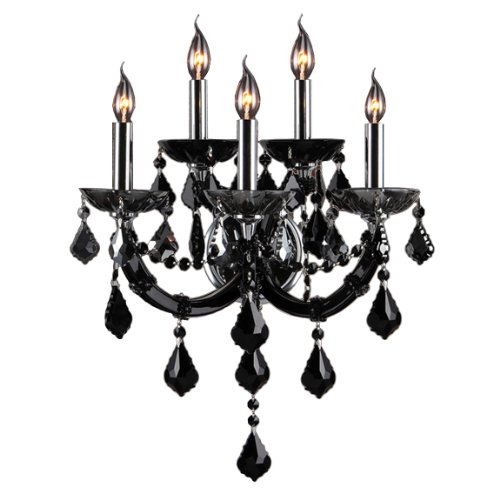 Worldwide Lighting Lyre Collection 5 Light Chrome Finish and Black Crystal Wall Sconce 15