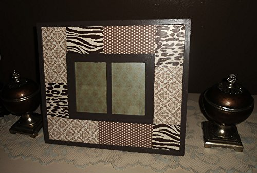 Upcycled Modern, Picture Frame, Decoupage, Brown and Creme, Hand Painted, Two Opening Frames, Wall Frames, Tabletop Frames - Decoupage Frame