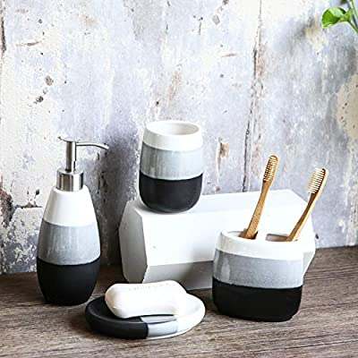 Tenforie Bathroom Accessories Set, 4-Piece Ceramic Bath Accessory Completes with Soap Dispenser, Toothbrush Holder, Tumbler, Soap Dish, Ideas Home Gift for Ware Home Decor Bath - ❤ DESIGN: Adding the beautifully painted Bathroom Set can change your bathroom look and could add a subtle, modern, and clean accent to your space. Bathroom Set Material: Ceramic Stainless Steel pump, Durable And Easy-To-Clean Plastic. ❤ BATHROOM ACCESSORIES INCLUDES - 1 Tumbler Cup - 4 1/4 x 3 x 3 inch, 1 Toothbrush Holder - 4 1/4 x 4 1/4 x 2 1/4 inch, 1 Lotion Dispenser - 7 3/4 x 3 x 3 inch, 1 Soap Dish - 5 1/2 x 3 3/4 x 1 inch. ❤ FUNCTION - Decorate Your Bathroom, They Could Assist In Protecting Your Surface, Keep Your Bathroom Clean, Tidy And Orderly. Perfect for organizing your bathroom counter top, stripe with gradient color design make this accessory luxury, add a beautiful decoration touch to your home. - bathroom-accessory-sets, bathroom-accessories, bathroom - 51WV0Ll0MwL. SS400  -