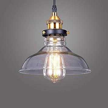 Lightess Lámpara Colgante Cristal Lámpara Vintage Luz Industrial Luz de Techo de Pantalla Rústico Casquillo E27 No Incluye Bombillas para Decoración ...