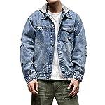 Men's Button Up Washed Denim Hoodie Distressed Jean Trucker Jacket Coats