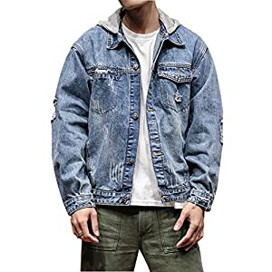 Men's  Washed Denim Hoodie Distressed Jean Trucker Jacket