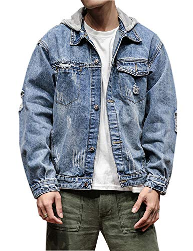 Omoone Men's Button Up Washed Denim Hoodie Distressed Jean Trucker Jacket Coats (Blue, L) ()