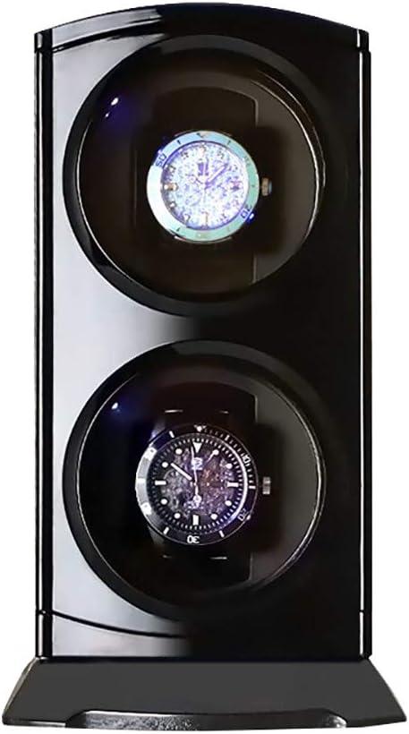 CHHMAELOVE Caja para Reloje Estuche Bobinadora Doble,Cargador para Relojes AutomáTicos,DiseñO Doble Vuelta Independiente,IluminacióN LED,Black: Amazon.es: Hogar