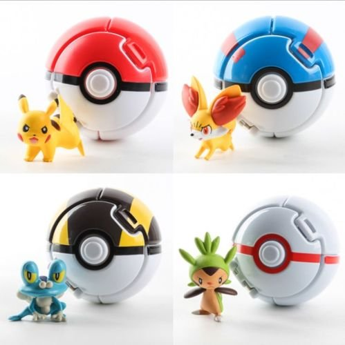 4PCS Bounce Pokemon Pokeball Cosplay Pop-up Go Fighting Poke BALL Toy & 4 Elfs (Dice Costumes)