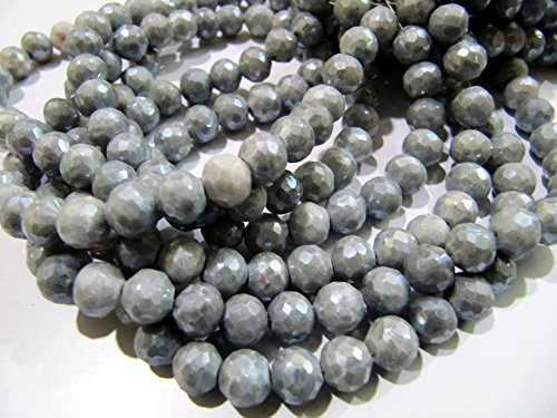 Mystic Jewel (AAA Quality AB Coated Grey Silverite Beads / Faceted Round Shape Silverite Beads / Size 6-7 mm / Strand 8
