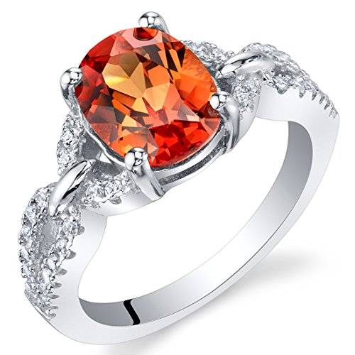 Lab Created Gemstone Rings - Created Padparadscha Sapphire Sterling Silver Forever Ring Size 7