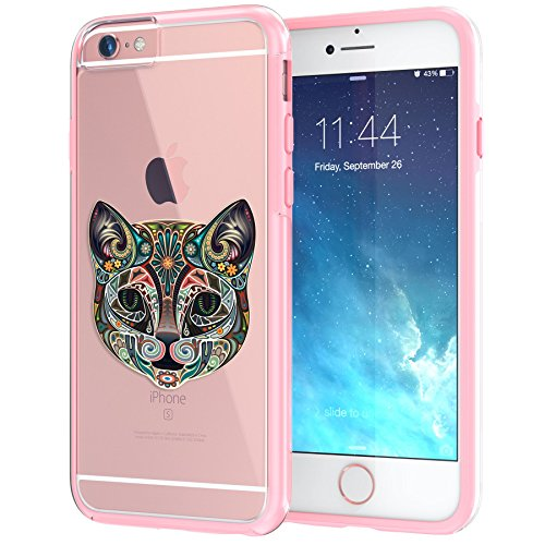 True Color Case Compatible with iPhone 6s Case, Cat Tattoo Design on Clear Hybrid Cover, Hard +Soft Slim Thin Durable Protective Shockproof Impact TPU Bumper - Coral Pink ()