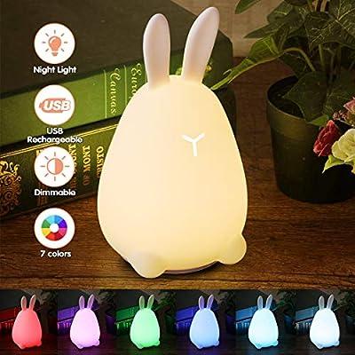 Led Usb Rechargeable EnfantElfeland Lampe Bébé 7 3 Mood Veilleuse De Nuit Couleur Niveau Light Luminosité Rabbit Silicone Cute tshxQdCr