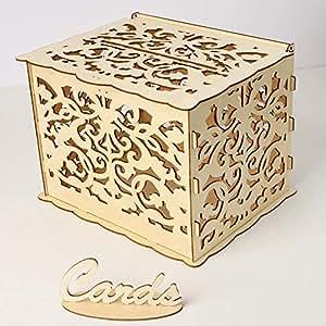 Amazon.com: Blusea - Caja de madera para tarjetas de boda ...