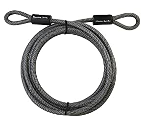Master Lock 72DPF Heavy Duty Looped End Cable, 15 Feet Braided Steel, 3/8-inch Diameter