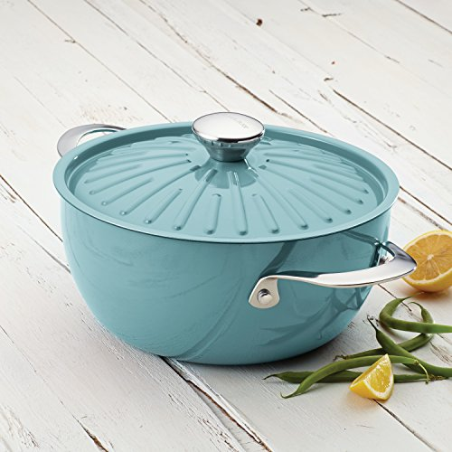 Rachael Ray Cucina Hard Porcelain Enamel Nonstick Covered Round Casserole, 4.5-Quart, Agave Blue by Rachael Ray (Image #2)