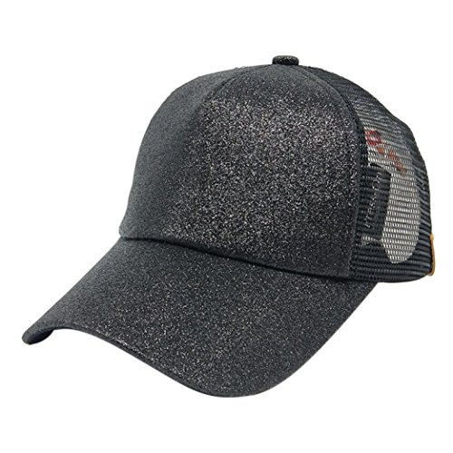Hot Alonea Sequins Hat, Women Ponytail Baseball Cap Sequins Shiny Messy Bun Snapback Hat Sun Caps