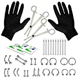 16G and 14G Body Piercing Kit 35 Pieces Belly Tongue Tragus Ear Eyebrow