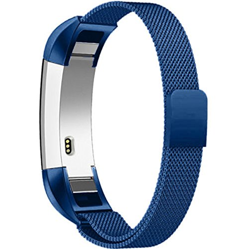 Ocamo Magnetic Stainless Steel Watch Band Strap for Fitbit Alta/Alta HR blue
